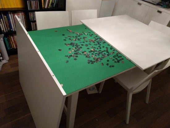 500 pc puzzle in progress on IKEA NORDEN table