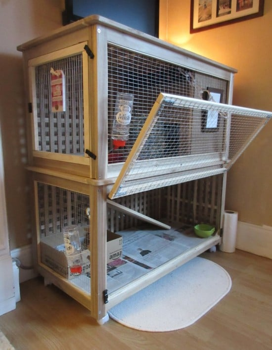 A 2-level indoor rabbit cage hacked from the IKEA HOL storage boxes