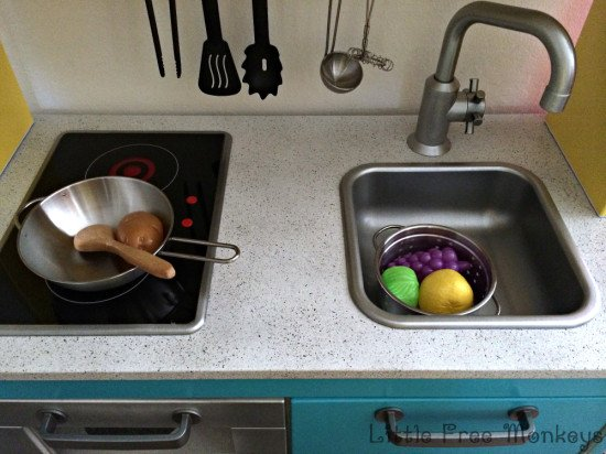 Ikea Duktig play kitchen makeover - stone counter