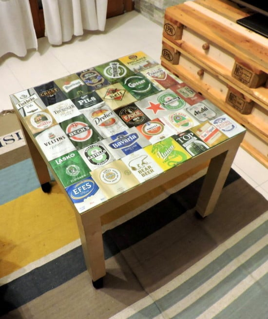 An IKEA LACK hack with empty beer cans