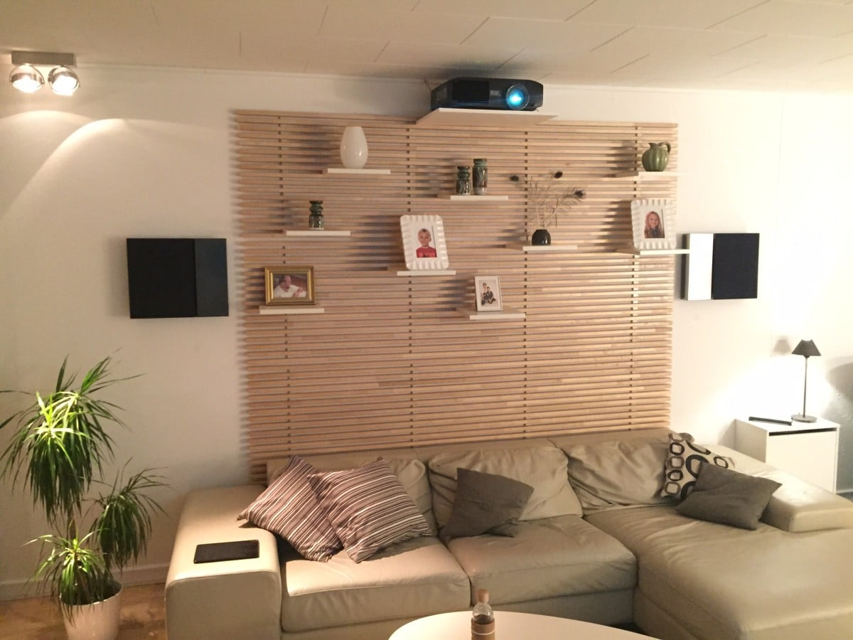 Living room home cinema my stylish projector mount and hidden surround receiver ikea hackers - Living room picture ...