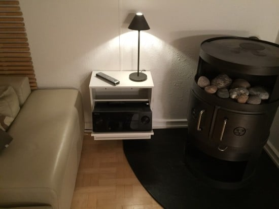 Surround receiver hidden in an IKEA BISSA shoe cabinet for my living room home cinema