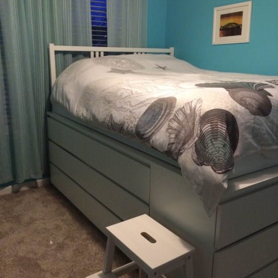 malm platform storage bed