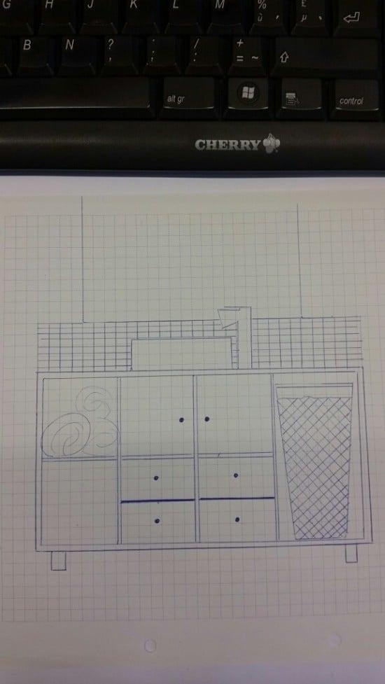 sketch of KALLAX bathroom vanity