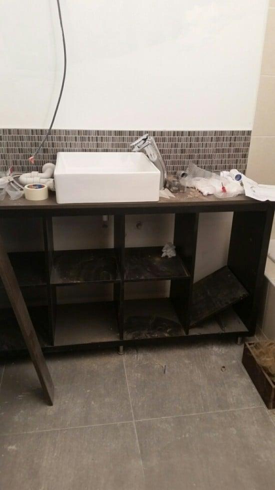 Sink on top of countertop