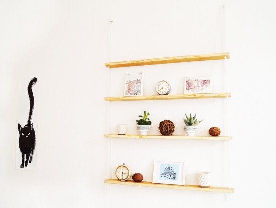 A hanging rope shelf from IKEA IVAR shelves