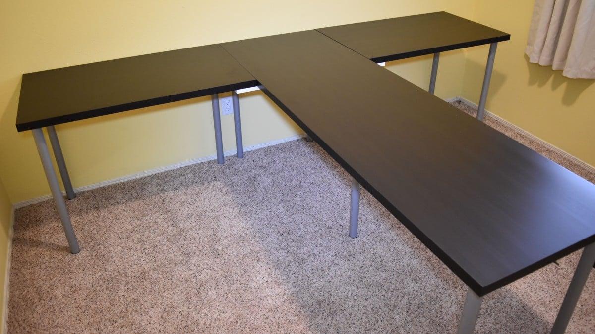 TShaped Partner Desk from IKEA parts - IKEA Hackers