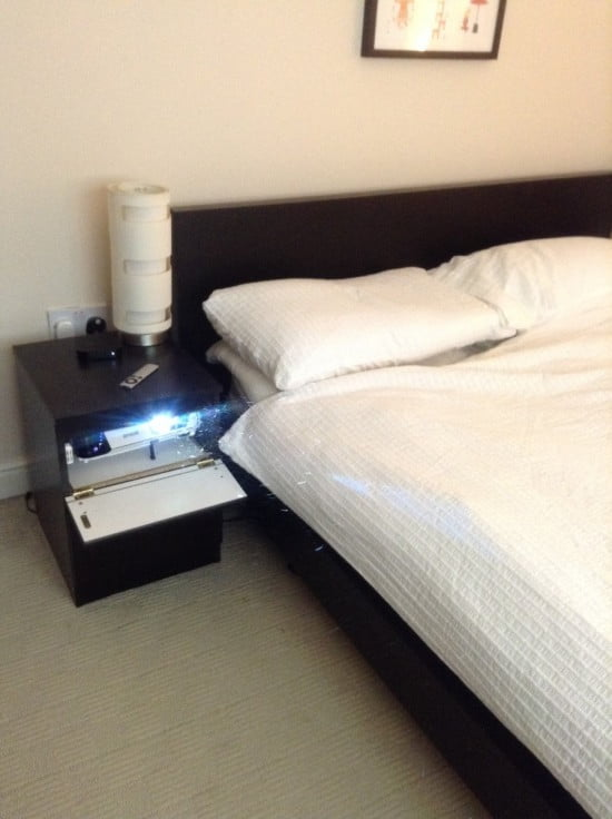 bedside projector cabinet open