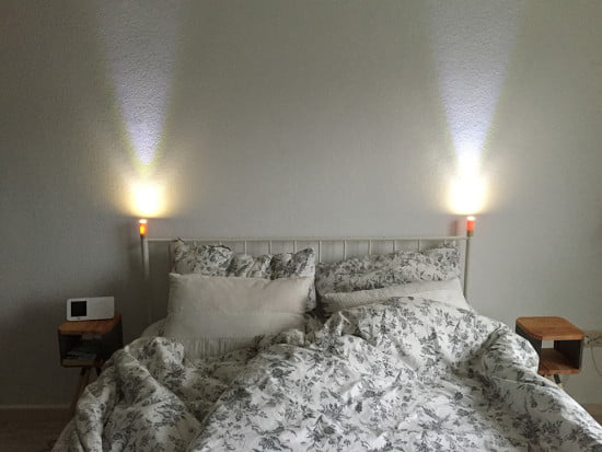 Leirvik bed with LED night lights