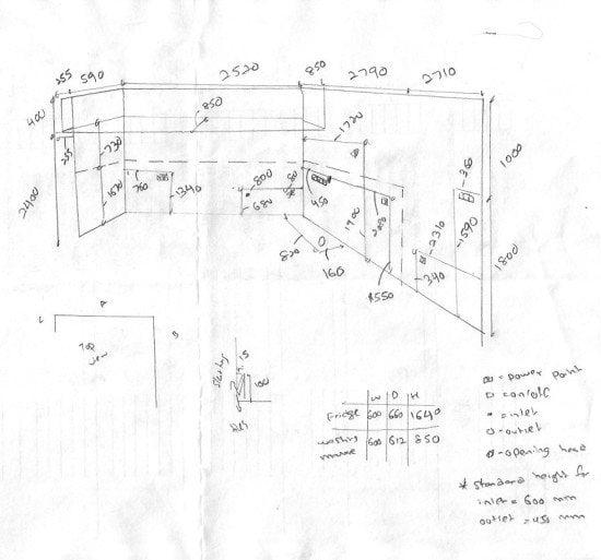 IKEA kitchen site measurement sketch