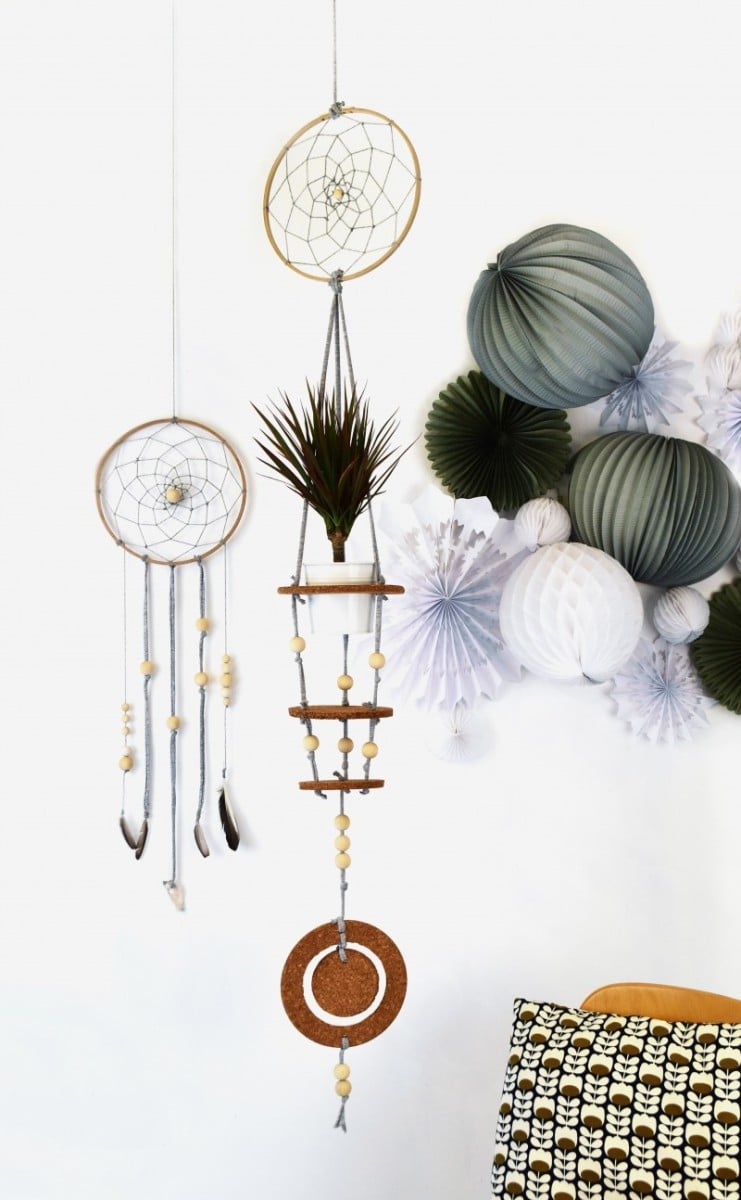 Hanging plant pot dream catcher
