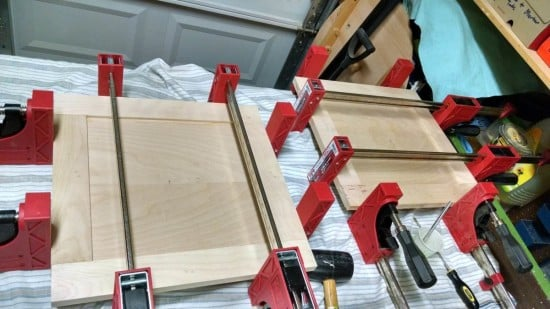 Glueing the doors together