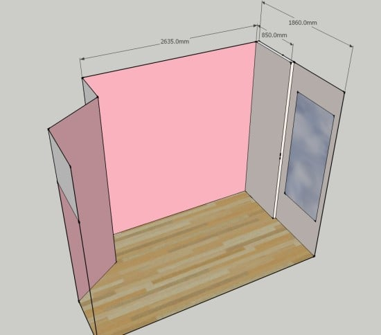 PIC OF EMPTY SKETCHUP PLAN WITH MEASUREMENTS