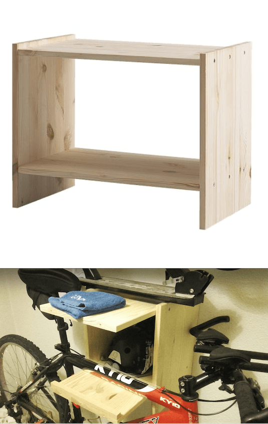 "RAST nightstand becomes a ""mesicleta"" (table + bike stand)"