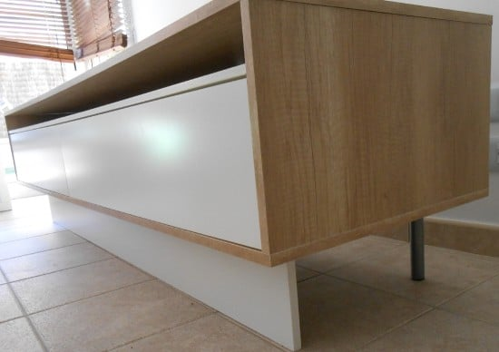Melamine panels to conceal the legs
