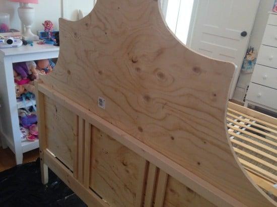 Screw headboard to FJELLSE bed frame