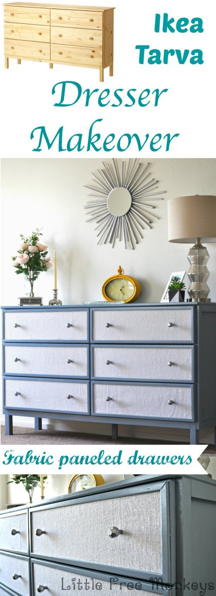Ikea tarva makeover with fabric paneled drawers