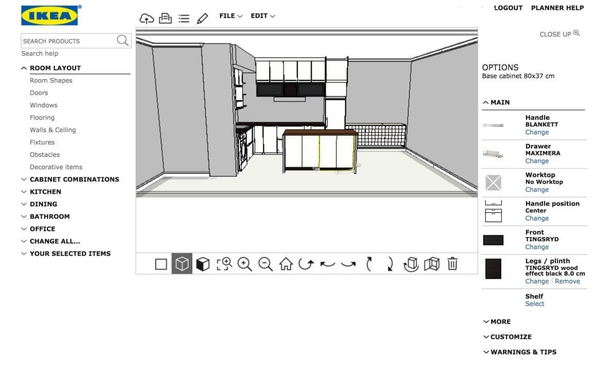 Kitchen cabinet kickboard dimensions - Planner Line View