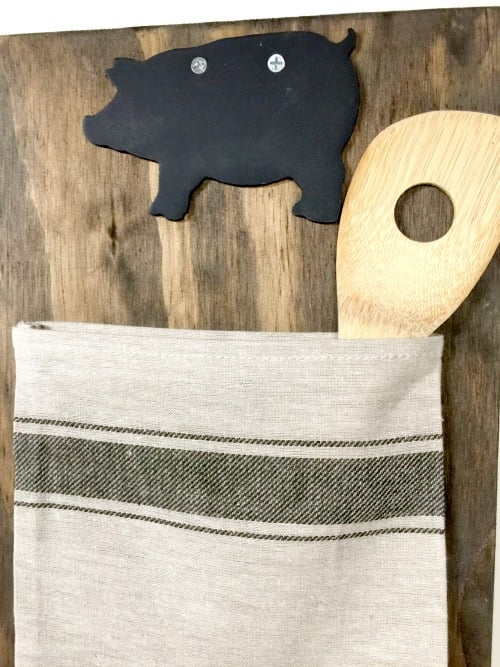 grain sack bag organizers with chalkboard pig