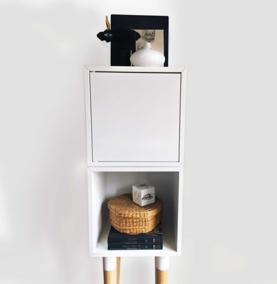 A VALJE cabinet with long legs