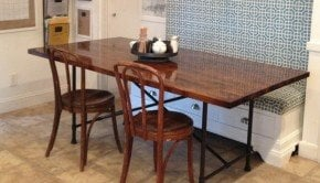 industrial butcher block table with metal legs