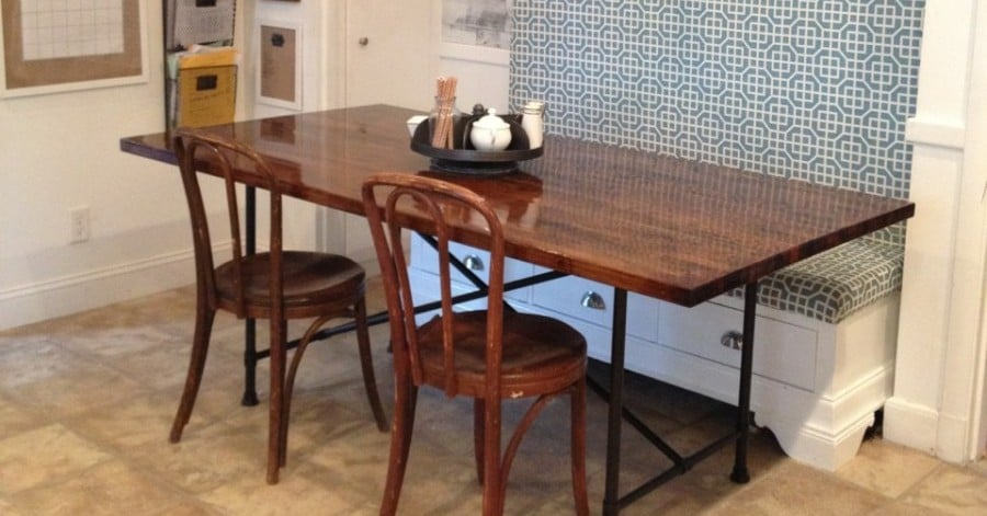 Rustic industrial butcher block table with metal base ikea hackers - Ikea rustic dining table ...