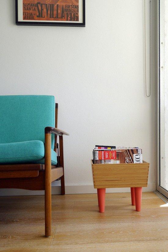 IKEA VARIERA bamboo box hacked into magazine rack