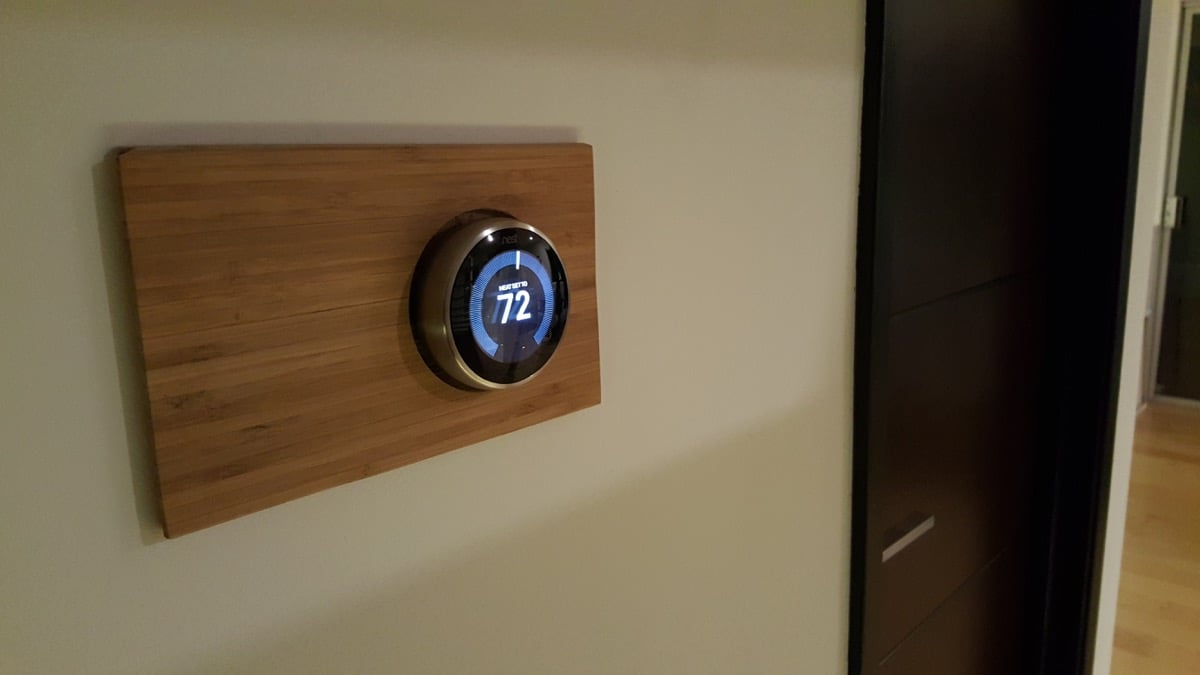 bamboo decorative wall plate for nest smart thermostat - Decorative Wall Plates