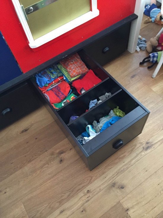 Trofast rolling drawer compartmentalised with shelves