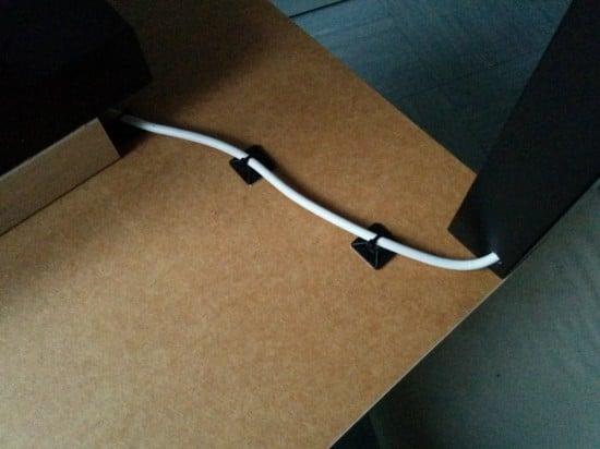 Cables run through the leg