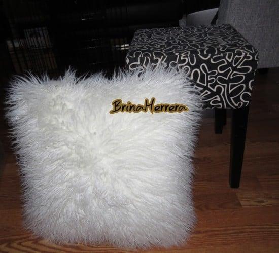Nils stool and fur pillow