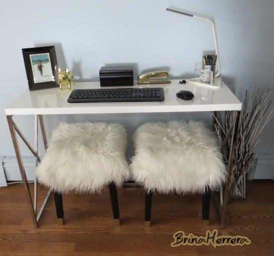 My glamorous Nils stool with white Mongolian fur seats