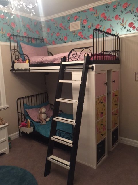 Ikea minnen single beds into bunk beds with extras ikea for Single bunk bed