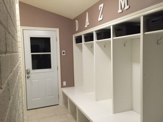 Large Mudroom Lockers with Bench hacked from the IKEA BESTÅ range