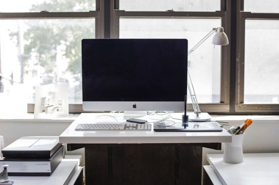 sit/ stand desk from IKEA AKURUM cabinets