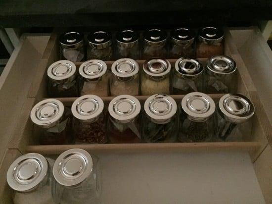 BEKVAM spice drawer with RAJTAN spice jars