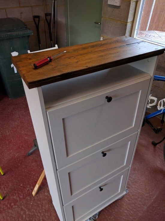 Upcycled Brusali shoe cabinet using old floorboards