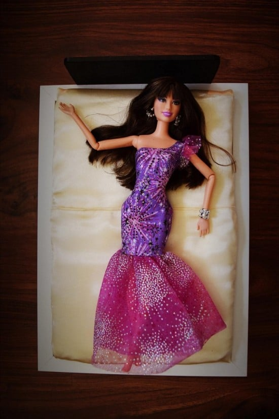 Here's barbie enjoying her non-pink bed for fashion dolls
