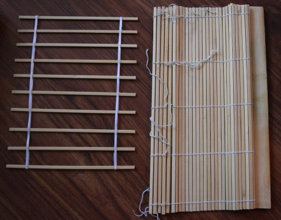 Build a slatted frame out of wooden staffs.
