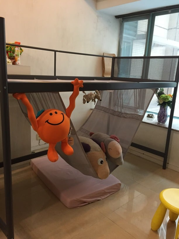 Item hacked: Tuffing bunk bed - Metre-high Loft Bed With Hammock From Tuffing Bunk Bed - IKEA