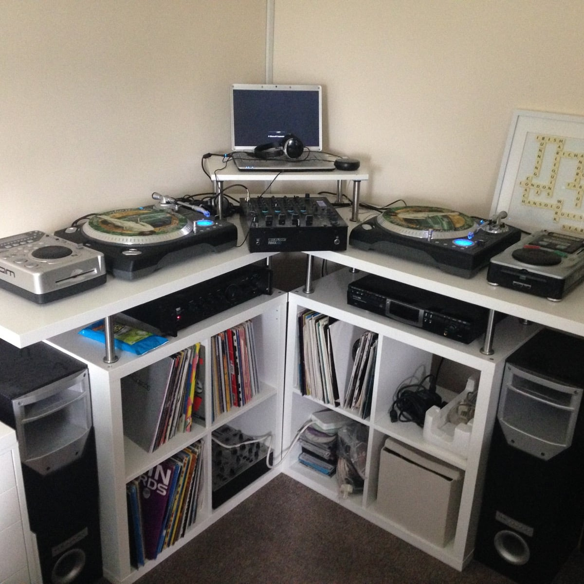 space saving corner dj music production unit ikea hackers. Black Bedroom Furniture Sets. Home Design Ideas