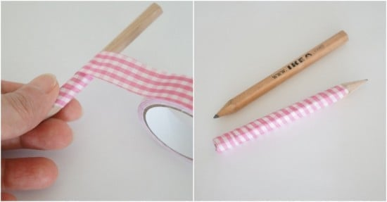 IKEA pencil wrapped in fabric tape