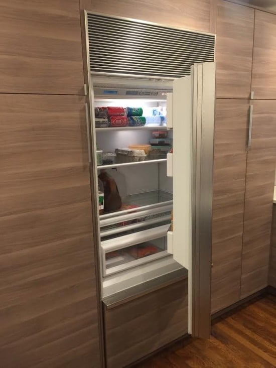 Integrated, paneled kitchen appliances using IKEA AKURUM