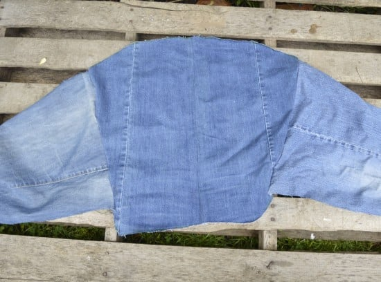 Cut out the pieces from old denim