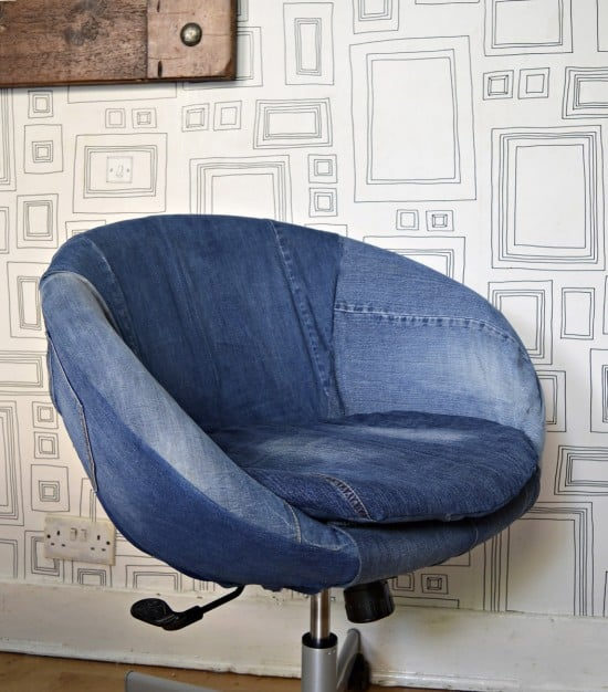 Amazing transformation of IKEA Skruvsta swivel chair with denim slipcover
