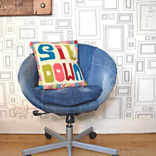 IKEA Skruvsta swivel chair with denim slipcover