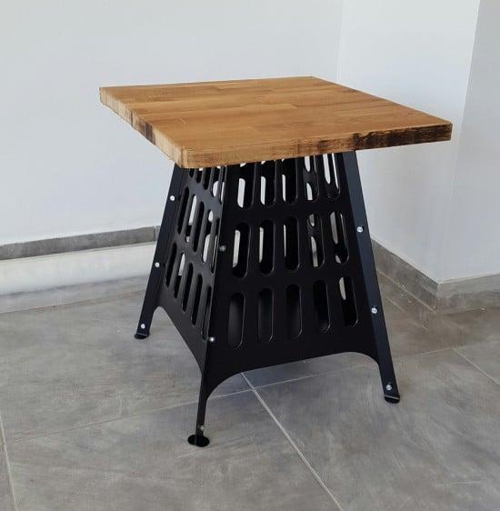 BROKÖ firepit repurposed as a pretty side table