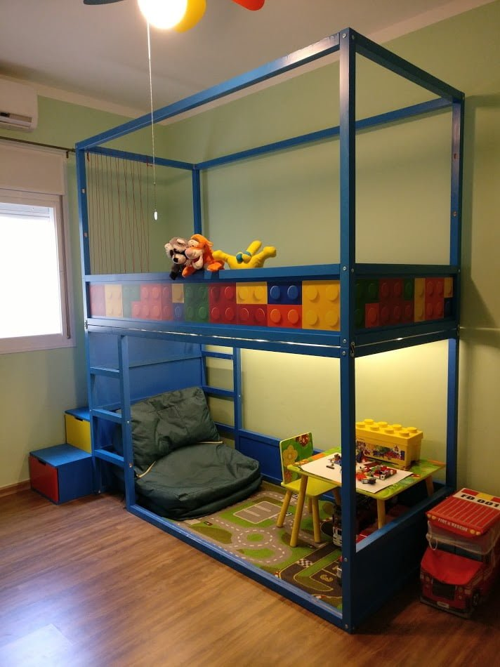 Kids loft kura bed with nordli stairs ikea hackers ikea hackers - Lit double superpose ikea ...