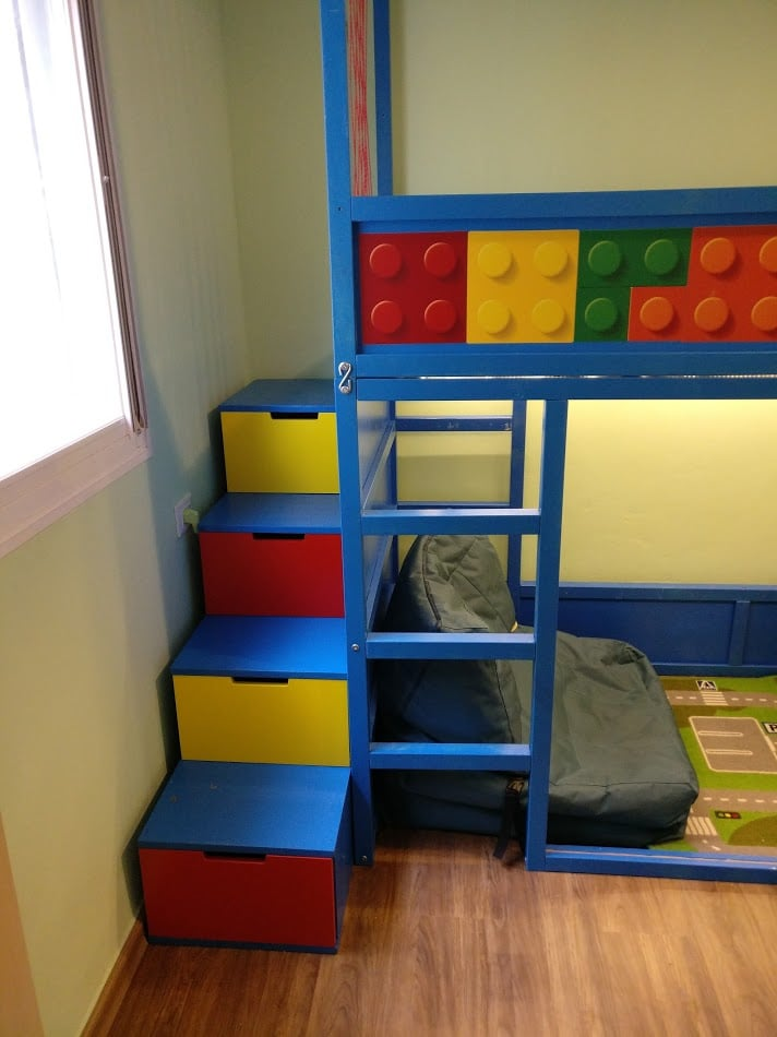 Kids loft kura bed with nordli stairs ikea hackers ikea hackers - Ikea bunk bed room ideas ...