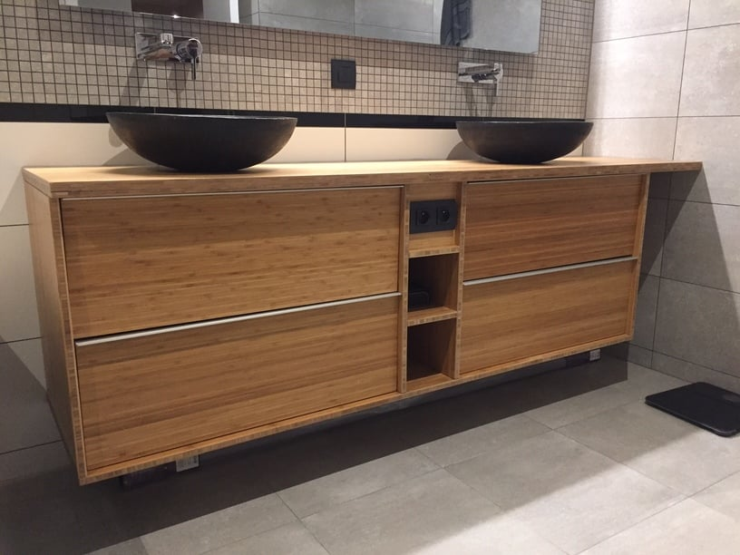 Custom bamboo bathroom furniture with godmorgon ikea - Creer son meuble salle de bain ...